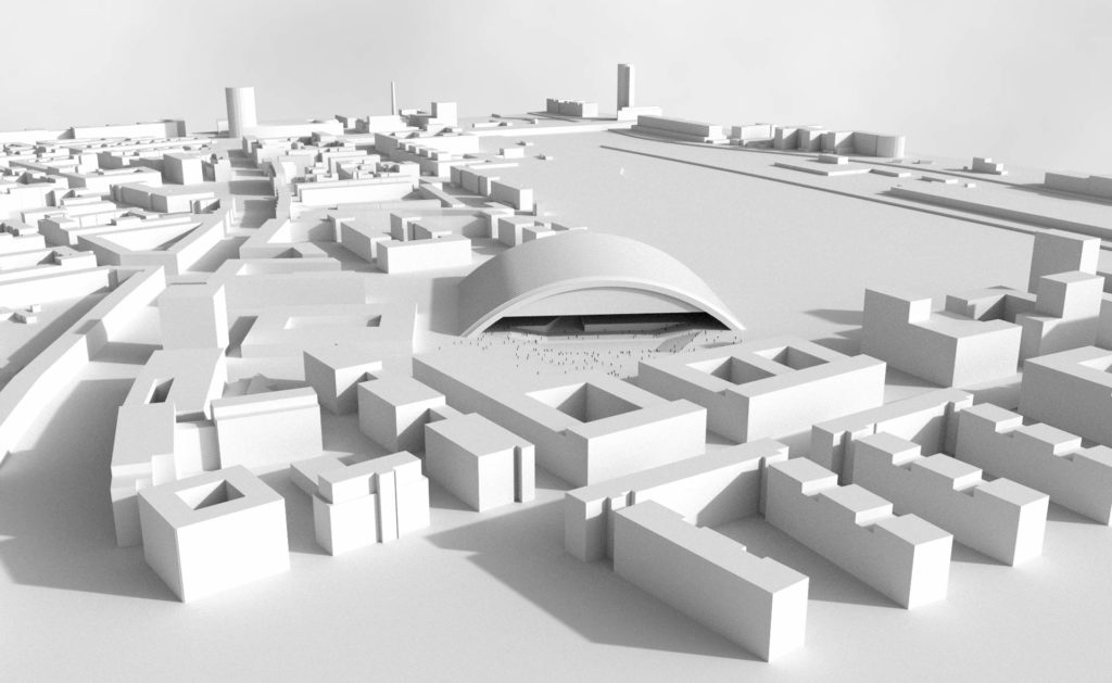 A white model shows the resonance and the buildings around it.