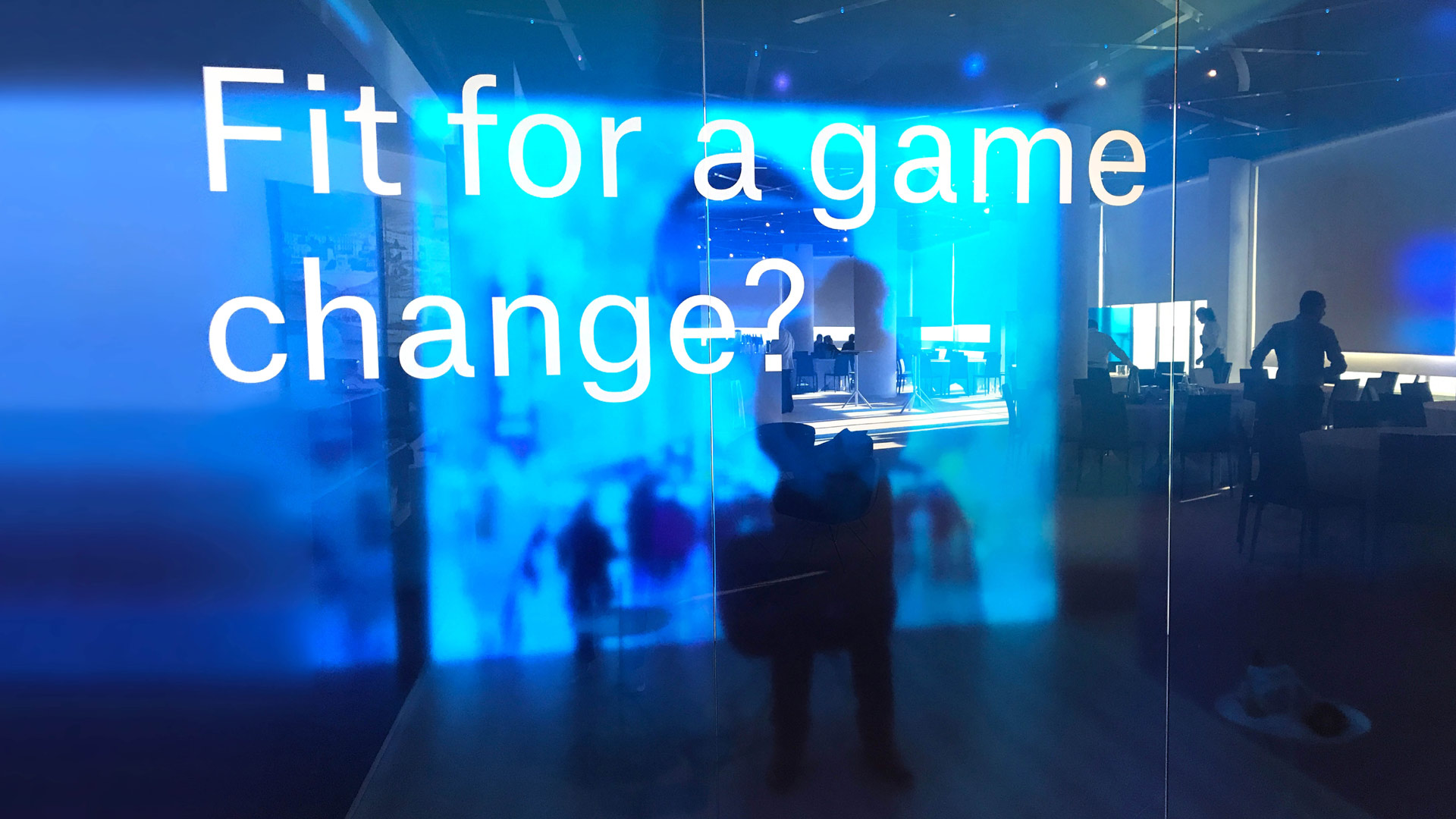 "Close-up of the lettering ""Fit for a game change?"" on the blue cube."