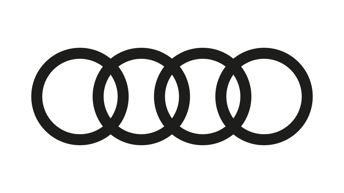 The black Audi rings against a white background.