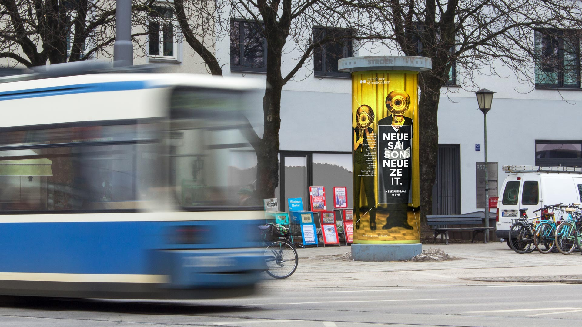The new poster of the Munich Symphony Orchestra on an advertising pillar at Rosenheimer Straße in Munich.