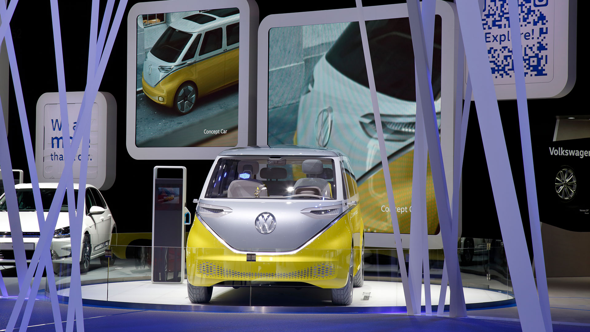 The picture shows a yellow concept car.