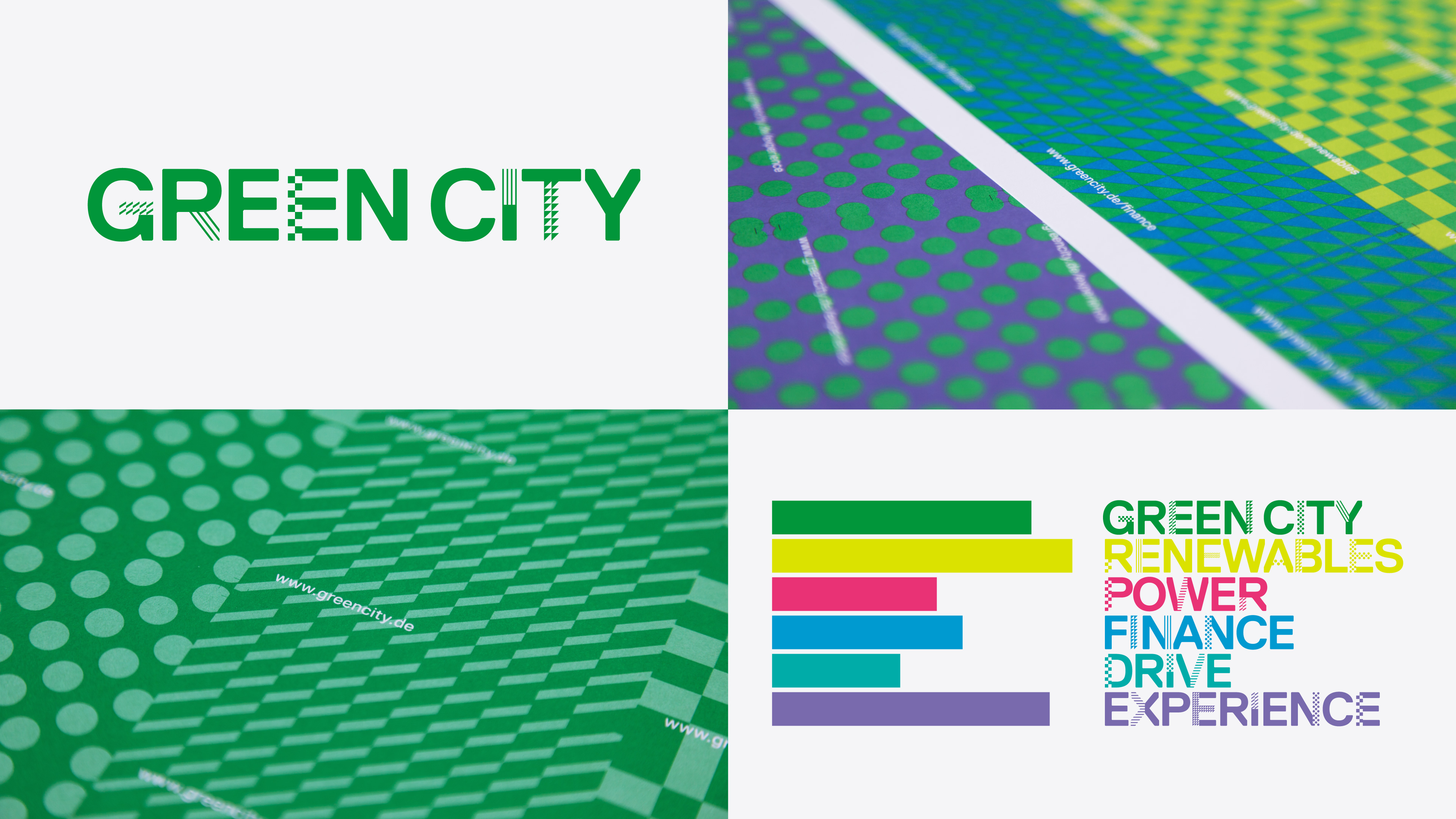 The picture shows the business sections of Green City.