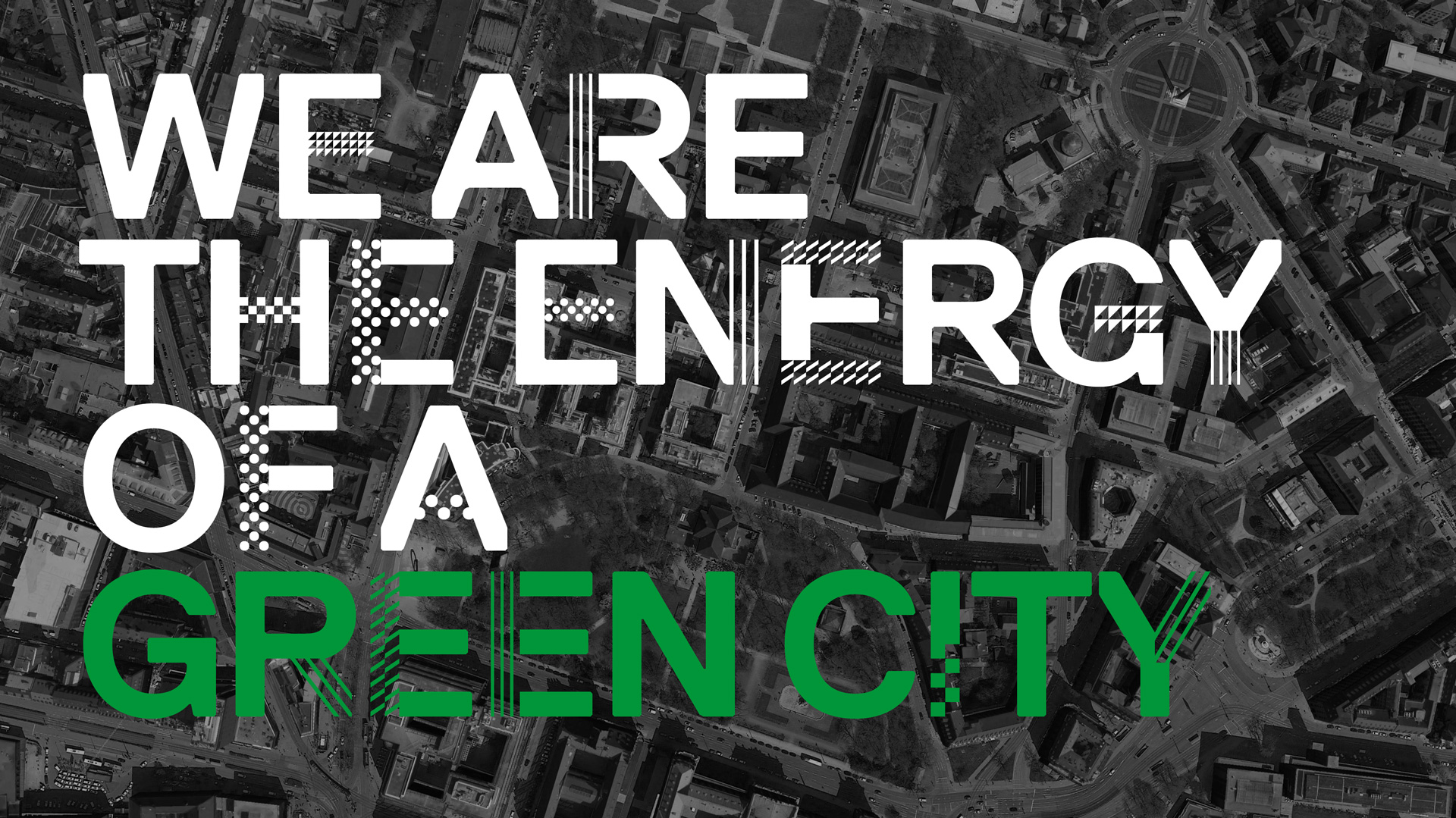 "The motto ""We are the energy of a green city"" is placed on a satellite image of Munich."