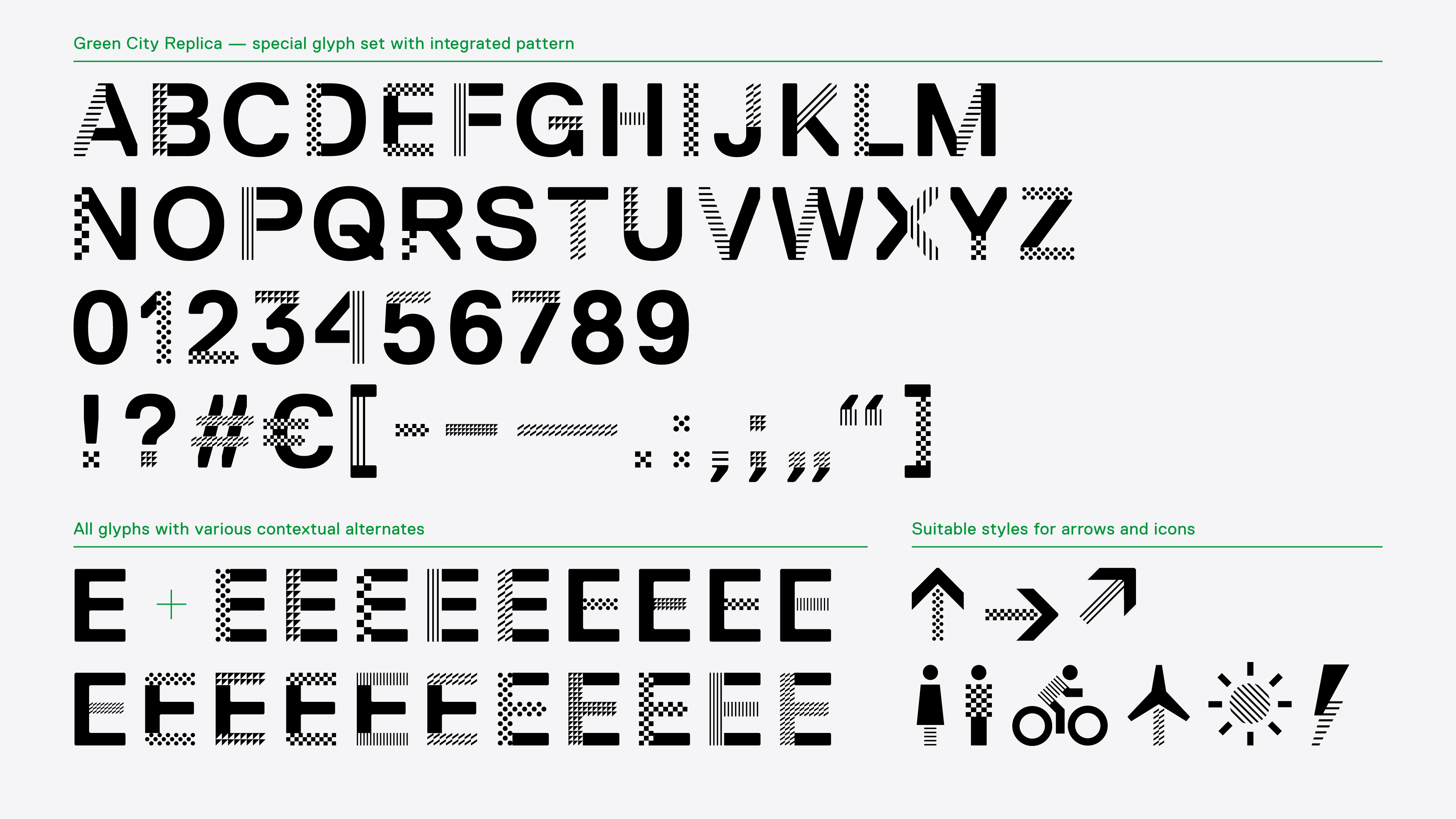 The picture shows the typeface glyphs.