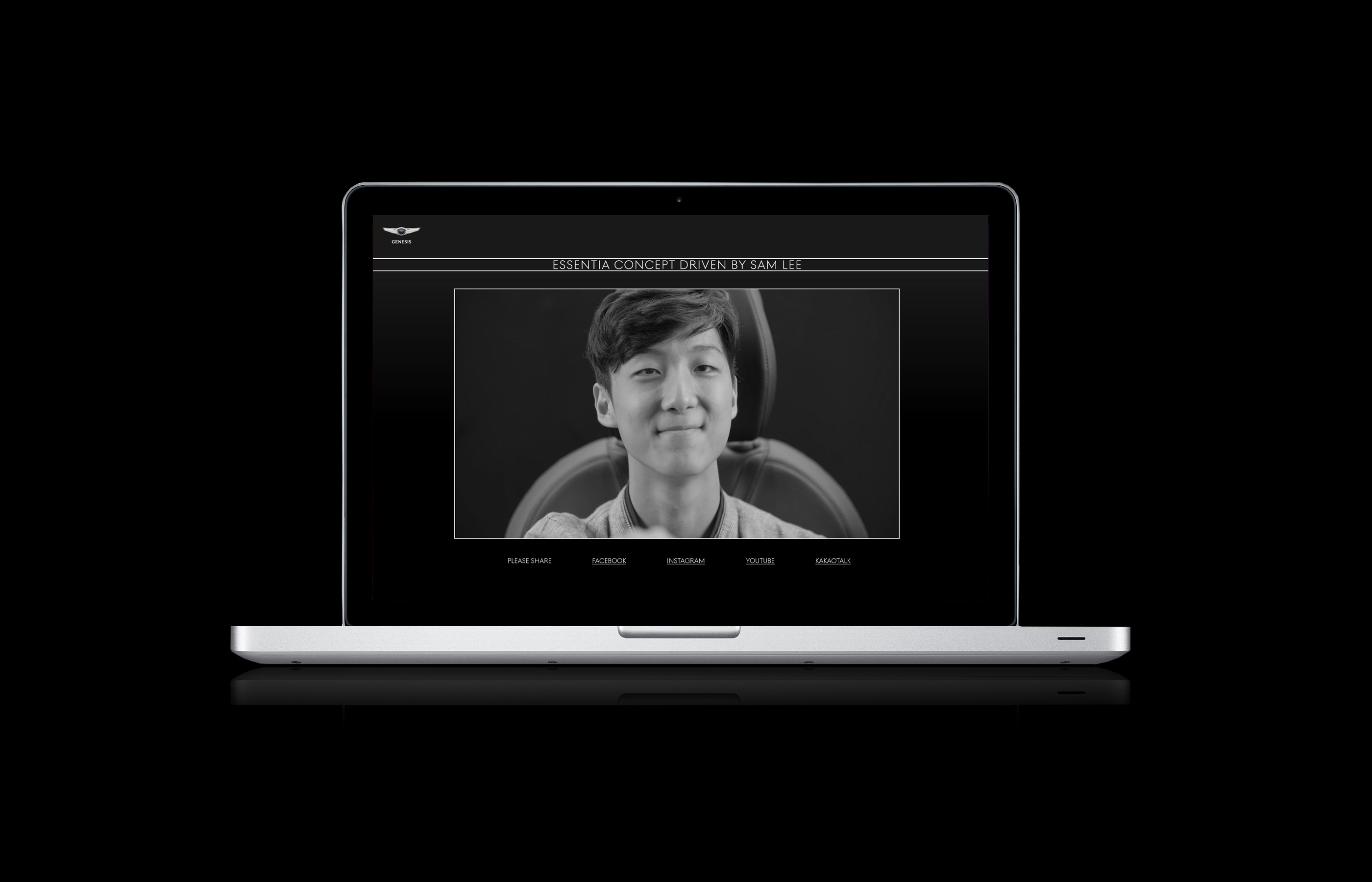 The picture shows a Macbook on which the video with the visitor is played.