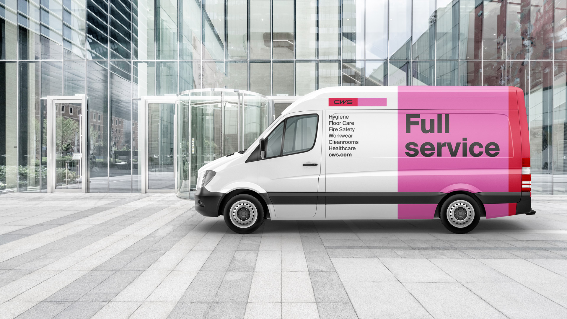 The picture shows the new corporate design of CWS on a white van.